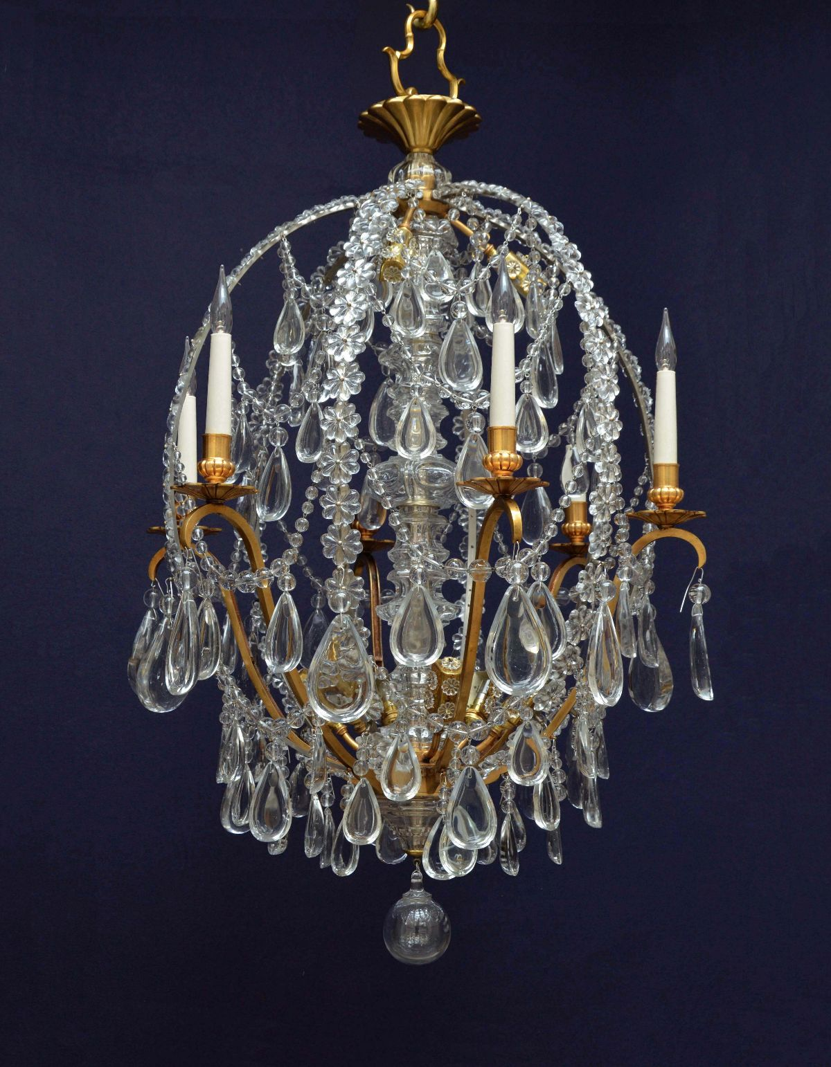 French six branch raindrop chandelier of elliptical form denton antiques