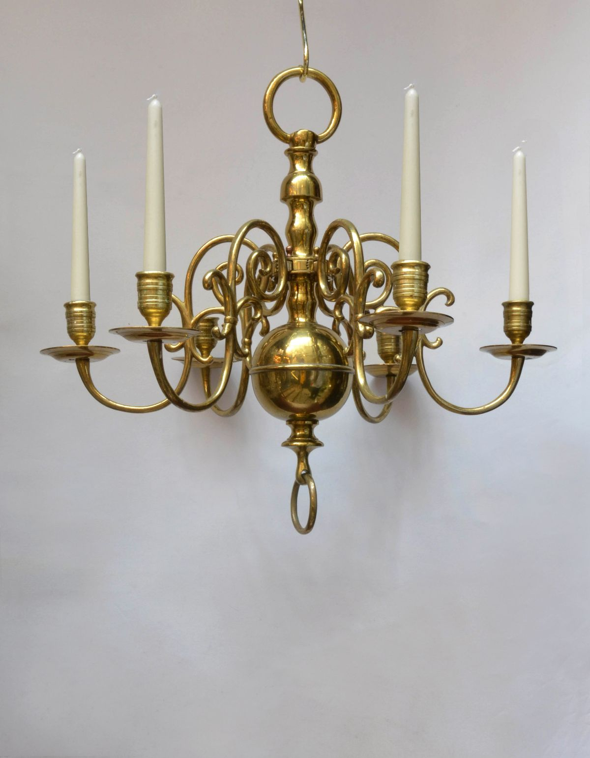 Pair Of Six Candle Branch Dutch Style Lacquered Brass Chandeliers Denton Antiques
